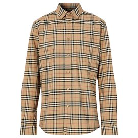 Burberry-burberry Small Scale Check Stretch Cotton Shirt-Multiple colors,Beige