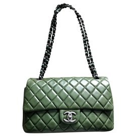 Chanel-Chanel medium Timeless  classic lined flap bag-Dark green