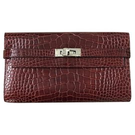 Hermès-Hermes Kelly wallet in Bordeaux Alligator with PHW-Dark red