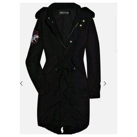 Balmain-BALMAIN Parka en coton brodé noir Sz.34-Noir