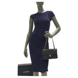 Chanel-Chanel  CC Logo Knitted Dress Sz 34-Blue