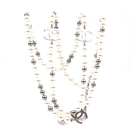 Chanel-Chanel Silver CC Pearls Beads lined Strand Long Necklace-Silvery