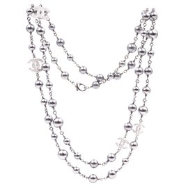 Chanel-Chanel Silver Grey CC Crystals Pearls lined Strand Long Necklace-Silvery