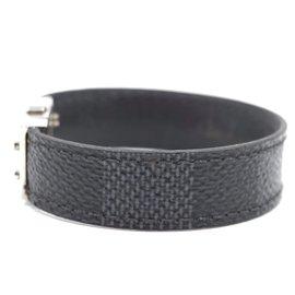 Louis Vuitton-Louis Vuitton Damier Bracelet Matériel Argent Graphite-Noir