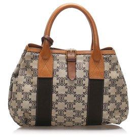 Céline-Celine Gray Macadam Canvas Handbag-Brown,Grey