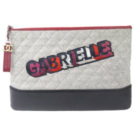 Chanel-Chanel Gray Gabrielle Wool Clutch-Multiple colors,Grey