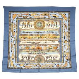 Hermès-Hermes Blue Vie du Fleuve Silk Scarf-Blue,Multiple colors