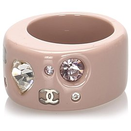 Chanel-Chanel Pink CC Rhinestone Ring-Brown,Pink,Beige,Other