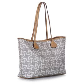 Céline-Celine Gray Carriage Tote Bag-White,Grey