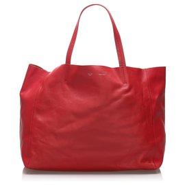 Céline-Celine Red Horizontal Cabas Leather Tote Bag-Red