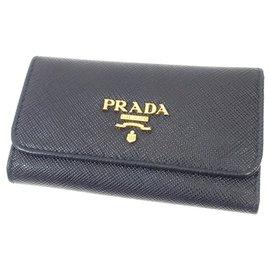Prada-Prada Black Saffiano Key Holder-Black