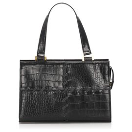 Yves Saint Laurent-YSL Black Croc Embossed Leather Handbag-Black