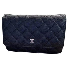 Chanel-Chanel Quilted Wallet on Chain WOC Black Caviar Silver Hardware-Black