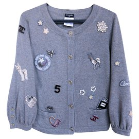 Chanel-NEW 6K$ Lucky Charms cardigan-Grey