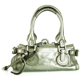 Chloé-CHLOE mini Paddington Dark Silver Pebbled Leather Iconic Satchel Handbag-Silvery,Silver hardware