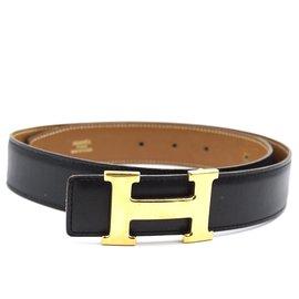 Hermès-Hermes 32mm Classic H Reversible Leather Size 75 belt-Black