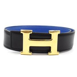 Hermès-Hermes 32mm Gold H Reversible Leather Size 70 belt-Black