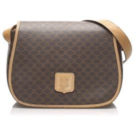 Céline-Celine Brown Macadam Crossbody Bag-Brown,Dark brown