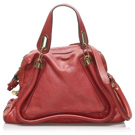 Chloé-Chloe Red Paraty Leather Satchel-Red