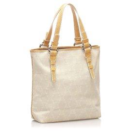 Céline-Celine White Macadam Canvas Tote Bag-Brown,White,Cream