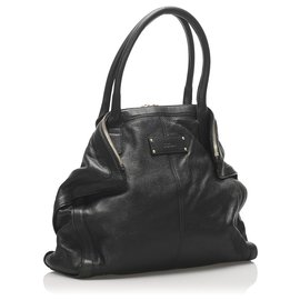 Alexander Mcqueen-Alexander McQueen Black De Manta Leather Tote Bag-Black