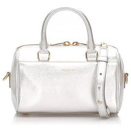 Yves Saint Laurent-YSL Silver Baby Classic Metallic Leather Duffle Bag-Silvery