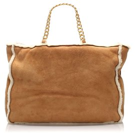 Chanel-Chanel Brown Suede Leather Tote Bag-Brown,White
