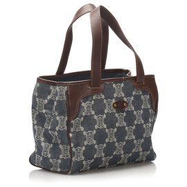 Céline-Celine Blue Macadam Denim Handbag-Brown,Blue