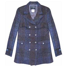 Chanel-manteau en tweed métallisé-Noir