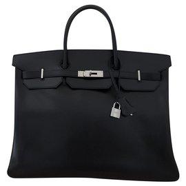 Hermès-Hermes Birkin 40 en cuir box noir-Noir