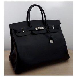 Hermès-HERMES BIRKIN 40 black box leather-Black