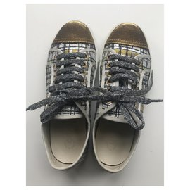 Chanel-Low Top Trainers-Black,Silvery,White,Golden