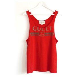 Gucci-Gilet rouge à logo imprimé-Rouge