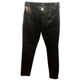 Roberto Cavalli-Jean skinny effet cuir Cavalli-Noir