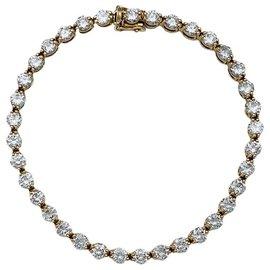 inconnue-Bracelet ligne diamants en or jaune.-Autre