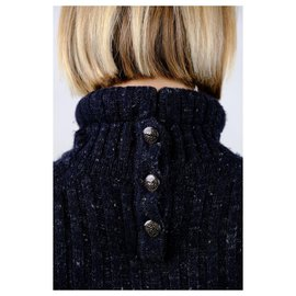 Chanel-cashmere turtlenack sweater-Navy blue