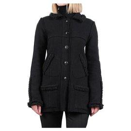 Chanel-Manteau à boutons CC-Noir