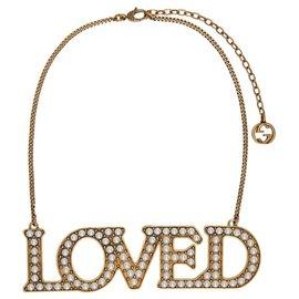 Gucci-Collier «Loved» de perles d'or GUCCI-Blanc,Bijouterie dorée