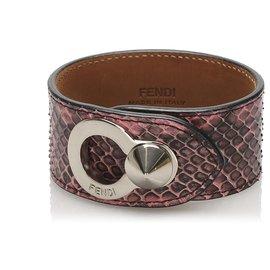 Fendi-Manchette en cuir Python rose Fendi-Noir,Rose