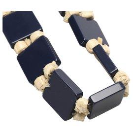 Prada-Prada Blue Tie Necklace-Brown,Blue,Beige,Dark blue