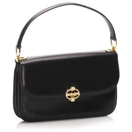 Céline-Celine Black Leather Shoulder Bag-Black