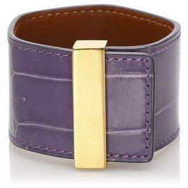Céline-Celine Purple Leather Cuff-Golden,Purple