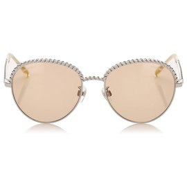 Chanel-Chanel Silver Round Tinted Sunglasses-Silvery