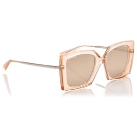 Chanel-Chanel Brown Square Tinted Sunglasses-Brown,Beige