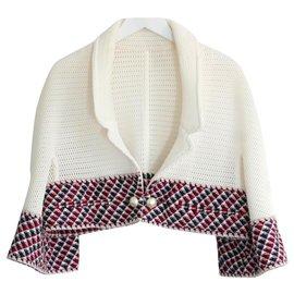 Chanel-SS13 Mesh & Tweed Crop Jacket-Cream