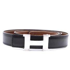Hermès-Hermes 24mm Constance Silver H Reversible Leather Size 75 belt-Black