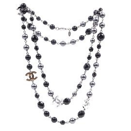 Chanel-Chanel Black Grey CC Bead Pearl lined Single Necklace-Multiple colors