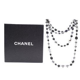 Chanel-Collier simple doublé de perles CC noir gris Chanel-Multicolore