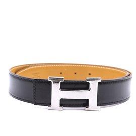 Hermès-Hermes 32mm Silver H Reversible Leather Size 80 belt-Black