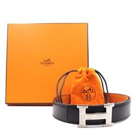 Hermès-Hermes 32mm Silver H Reversible Leather Size 90 belt-Black
